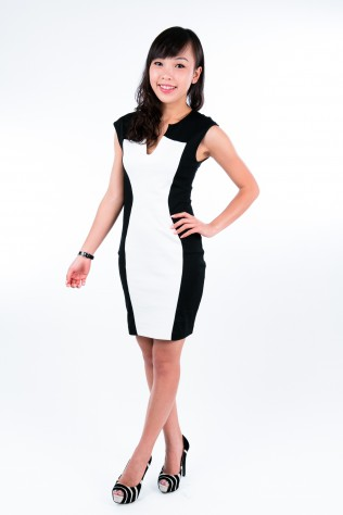 Black Silhouette White Slim Dress