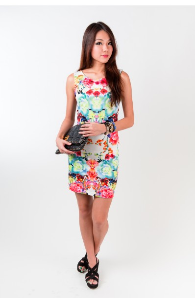 Tessa Sleeveless Dress in Flora